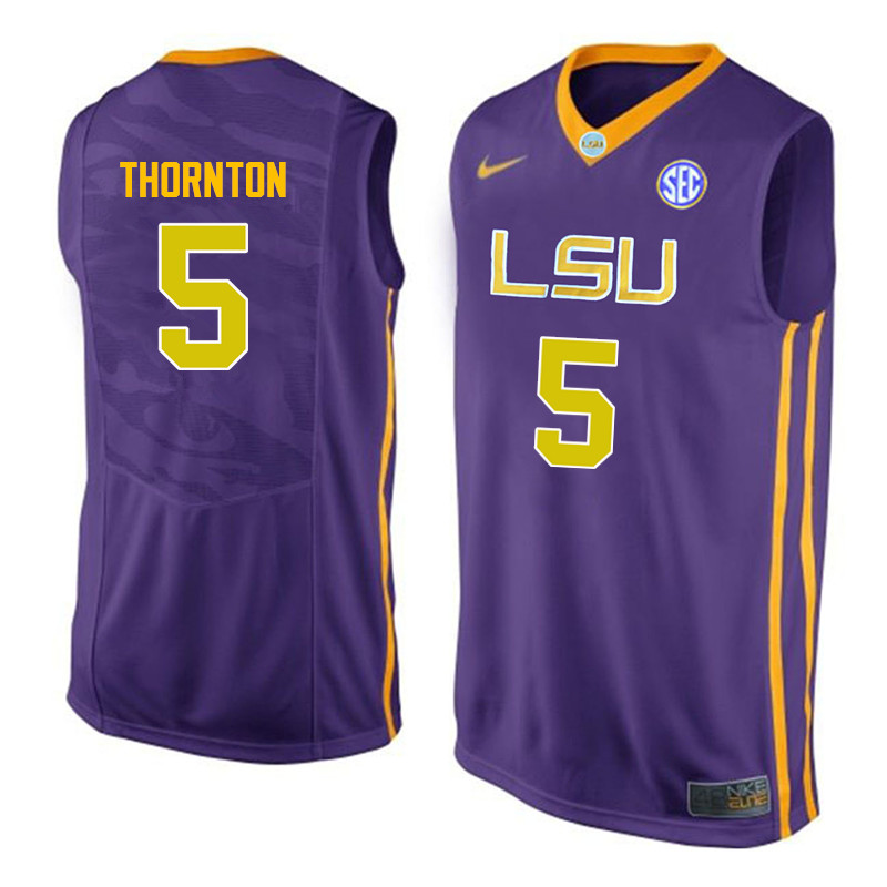 Men LSU Tigers #5 Marcus Thornton College Basketball Jerseys-Purple