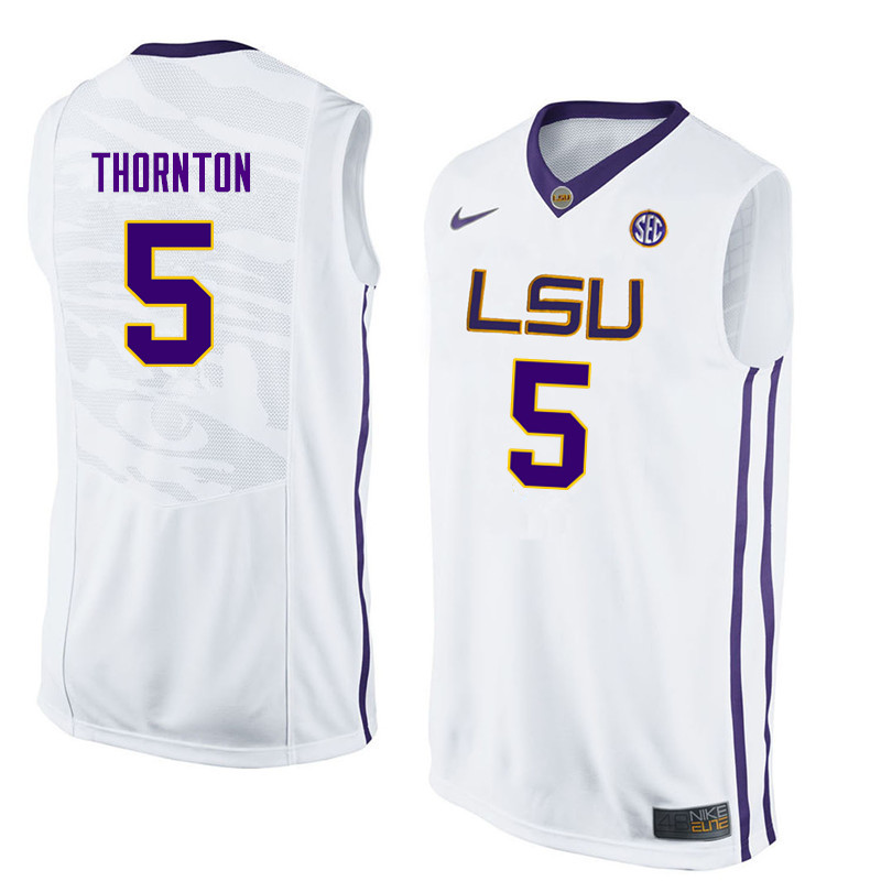 Men LSU Tigers #5 Marcus Thornton College Basketball Jerseys-White
