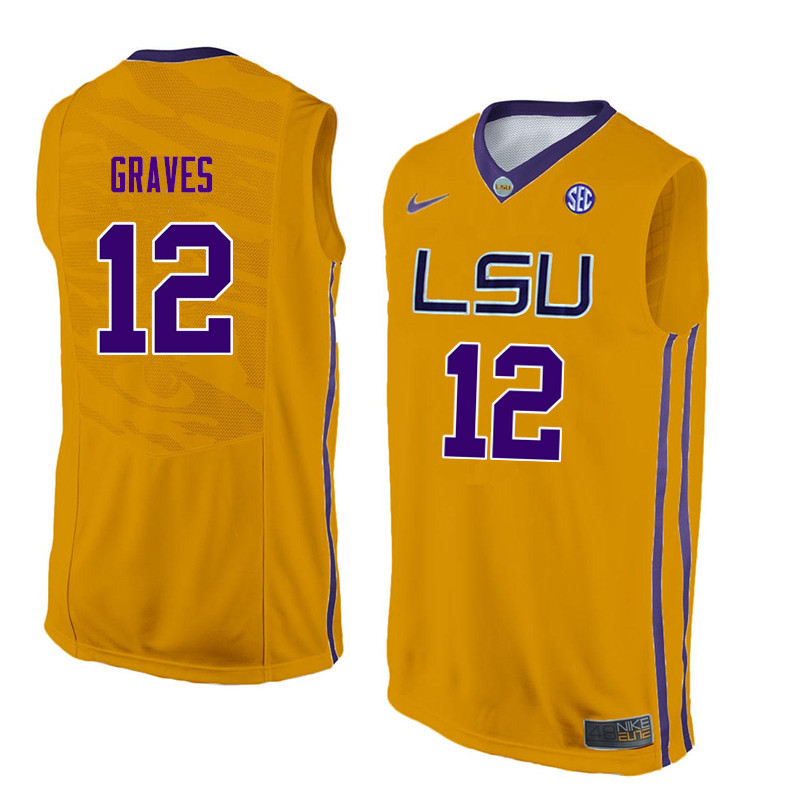 Men LSU Tigers #12 Marshall Graves College Basketball Jerseys-Gold