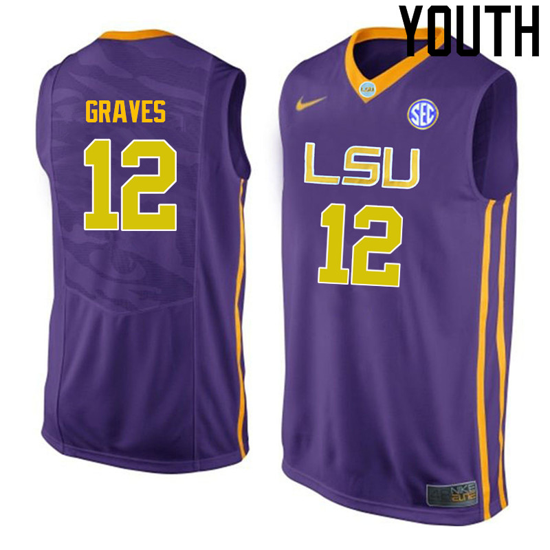 Youth LSU Tigers #12 Marshall Graves College Basketball Jerseys-Purple