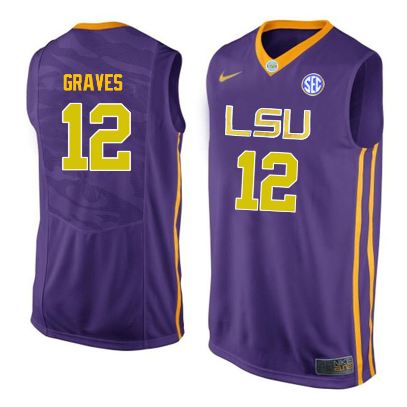 Men LSU Tigers #12 Marshall Graves College Basketball Jerseys-Purple