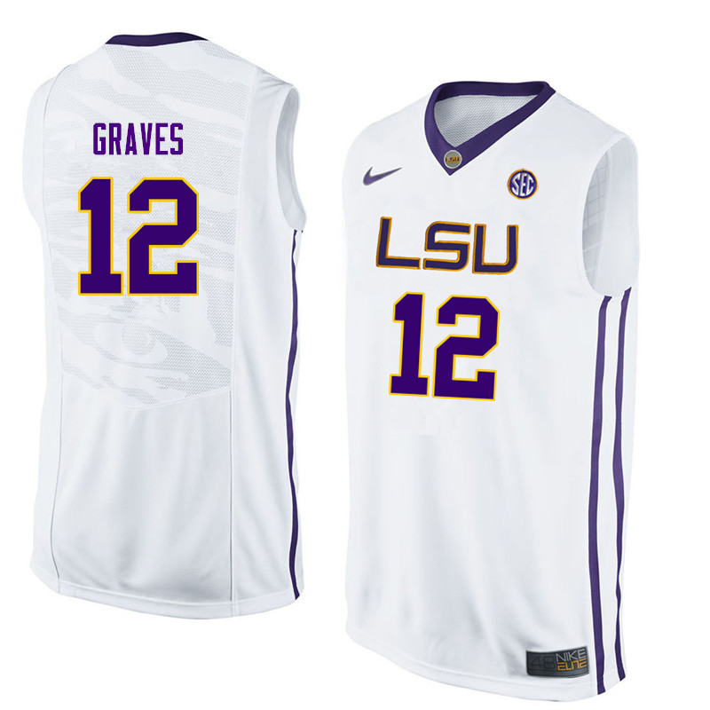 Men LSU Tigers #12 Marshall Graves College Basketball Jerseys-White