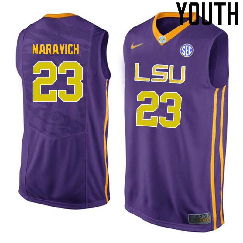 Youth LSU Tigers #23 Pete Maravich College Basketball Jerseys-Purple