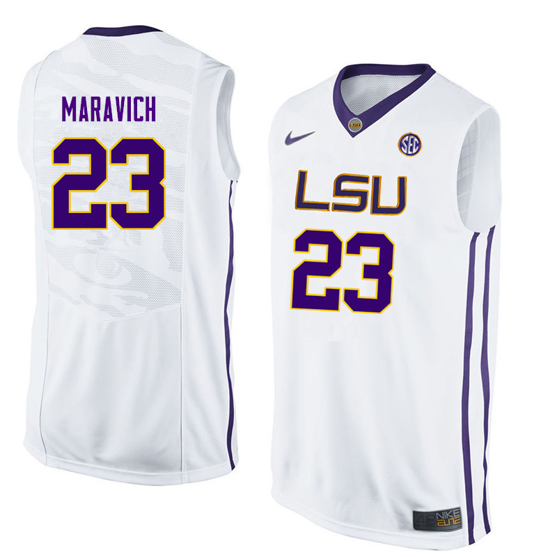 Men LSU Tigers #23 Pete Maravich College Basketball Jerseys-White