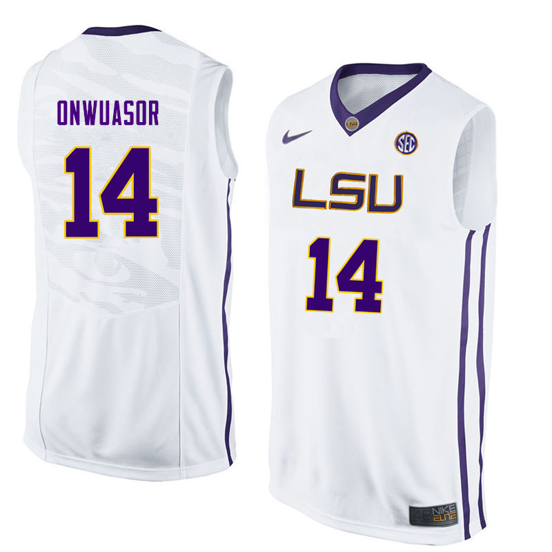 Men #14 Randy Onwuasor LSU Tigers College Basketball Jerseys Sale-White