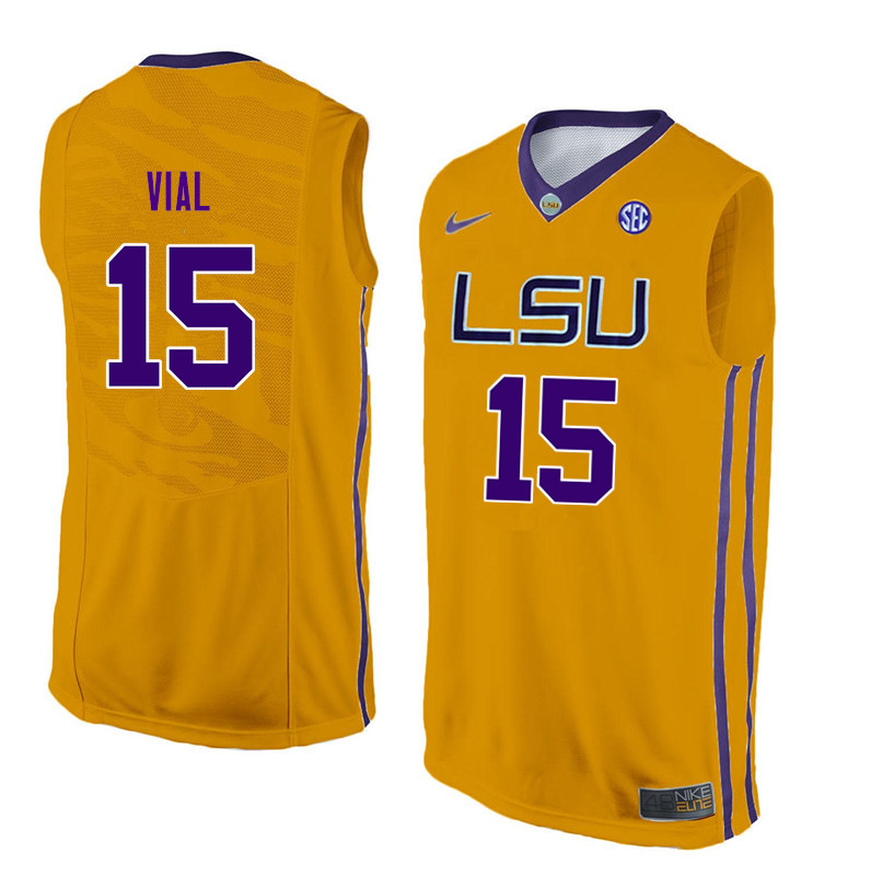 Men LSU Tigers #15 Reed Vial College Basketball Jerseys-Gold