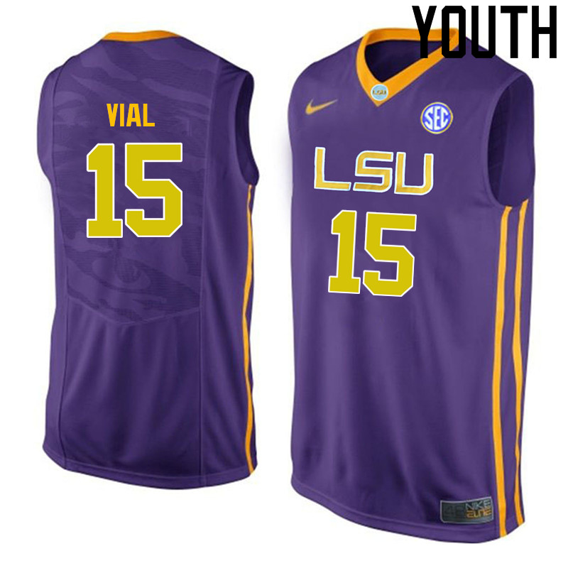 Youth LSU Tigers #15 Reed Vial College Basketball Jerseys-Purple