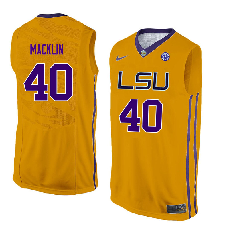 Men LSU Tigers #40 Rudy Macklin College Basketball Jerseys-Gold