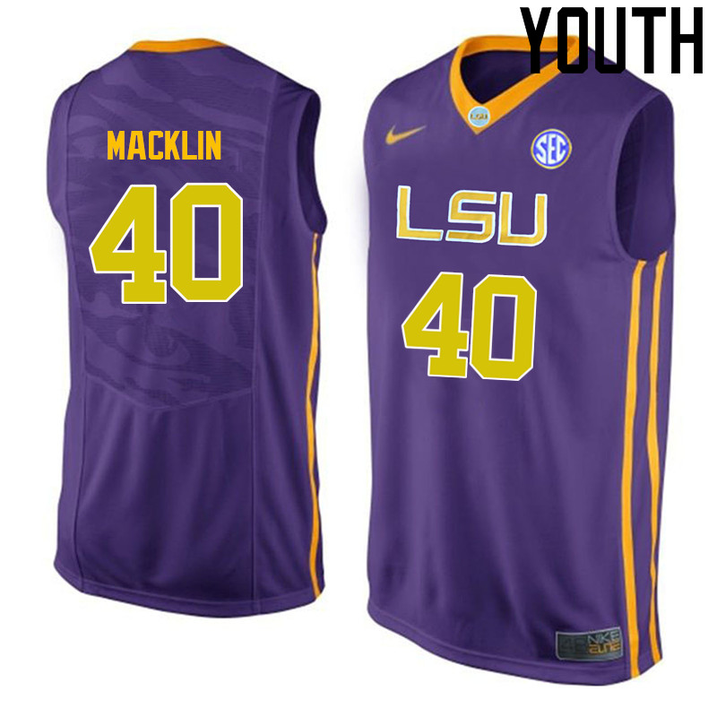 Youth LSU Tigers #40 Rudy Macklin College Basketball Jerseys-Purple