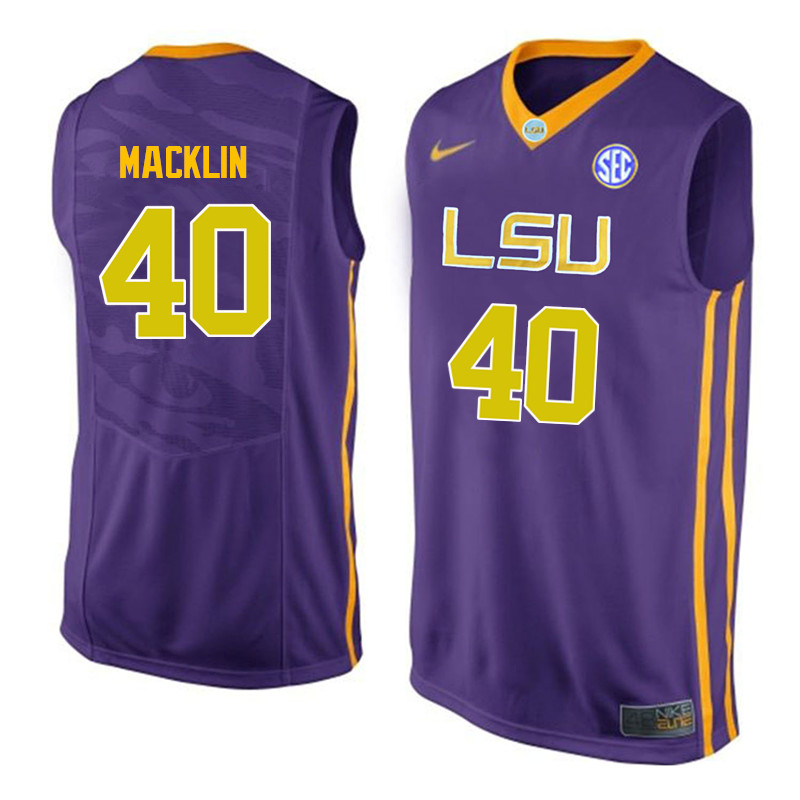 Men LSU Tigers #40 Rudy Macklin College Basketball Jerseys-Purple