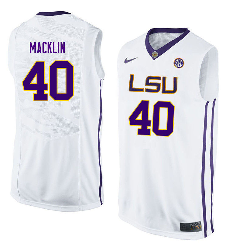 Men LSU Tigers #40 Rudy Macklin College Basketball Jerseys-White