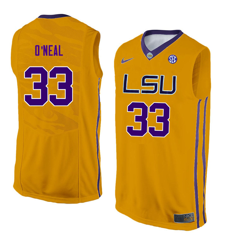 Men LSU Tigers #33 Shaquille ONeal College Basketball Jerseys-Gold