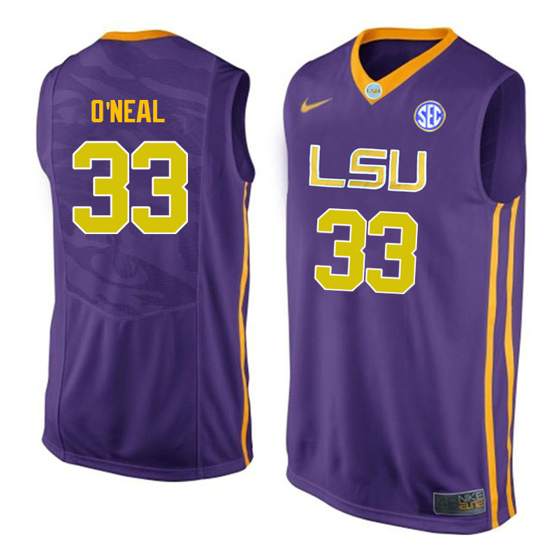Men LSU Tigers #33 Shaquille ONeal College Basketball Jerseys-Purple