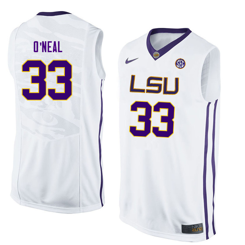 Men LSU Tigers #33 Shaquille ONeal College Basketball Jerseys-White