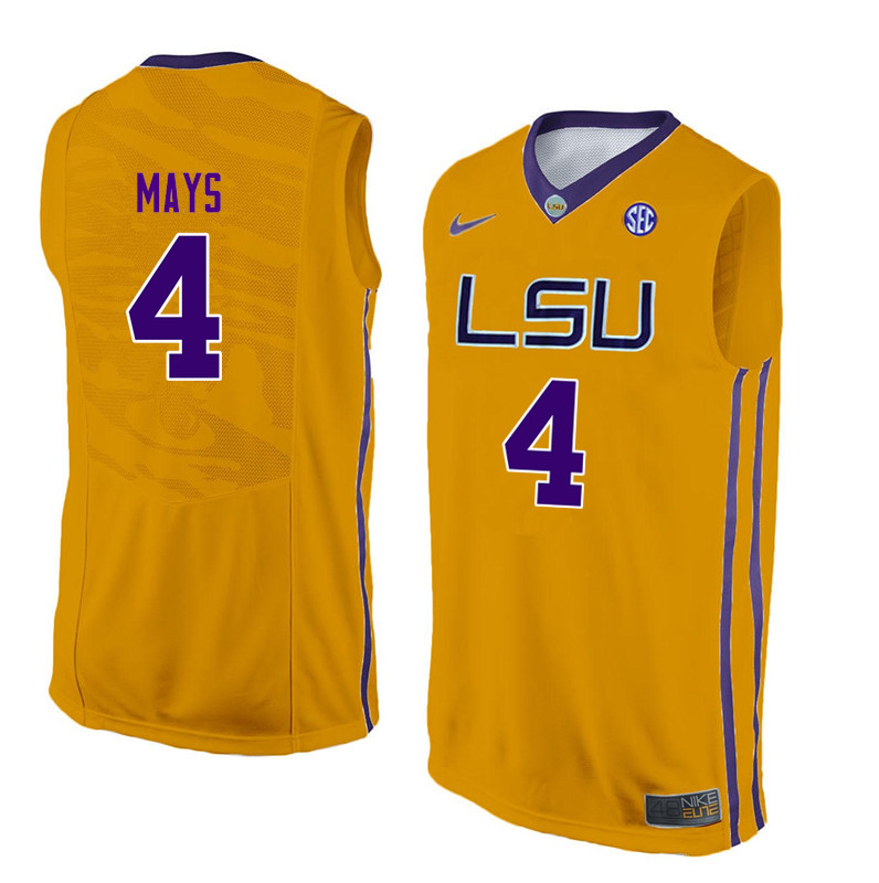 Men LSU Tigers #4 Skylar Mays College Basketball Jerseys-Gold