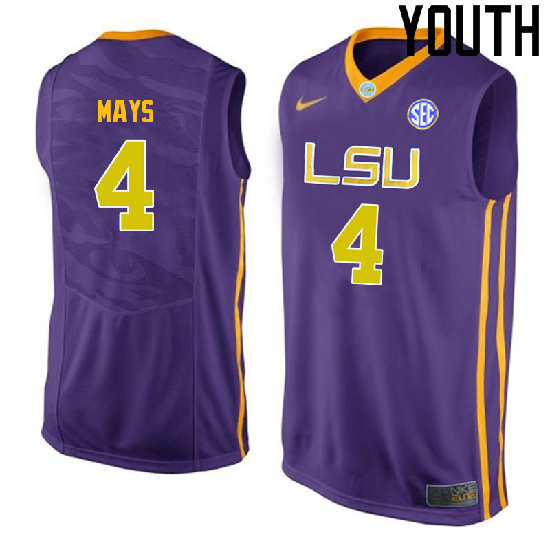 Youth LSU Tigers #4 Skylar Mays College Basketball Jerseys-Purple