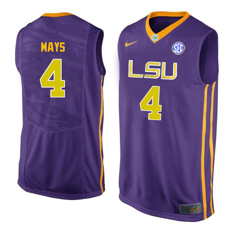 Men LSU Tigers #4 Skylar Mays College Basketball Jerseys-Purple