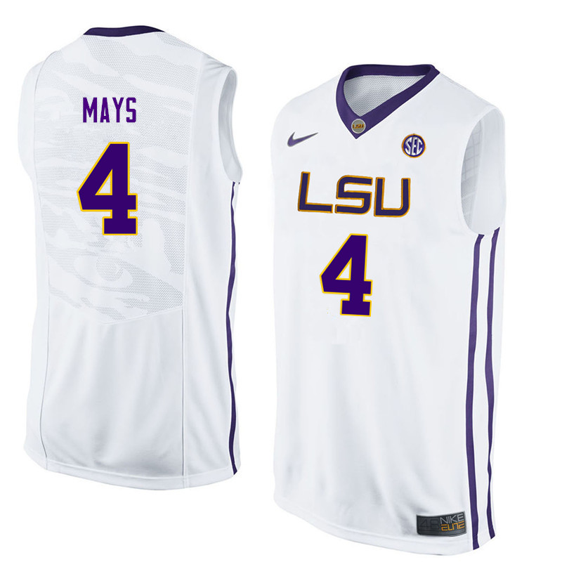 Men LSU Tigers #4 Skylar Mays College Basketball Jerseys-White