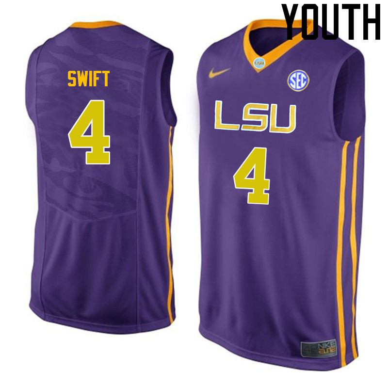 Youth LSU Tigers #4 Stromile Swift College Basketball Jerseys-Purple