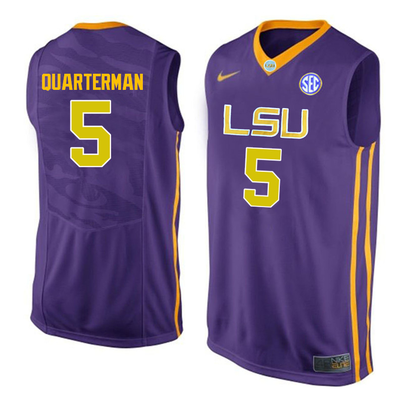 Men LSU Tigers #55 Tim Quarterman College Basketball Jerseys-Purple