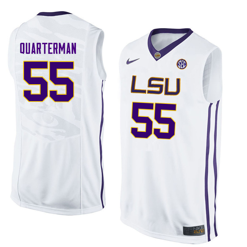 Men LSU Tigers #55 Tim Quarterman College Basketball Jerseys-White