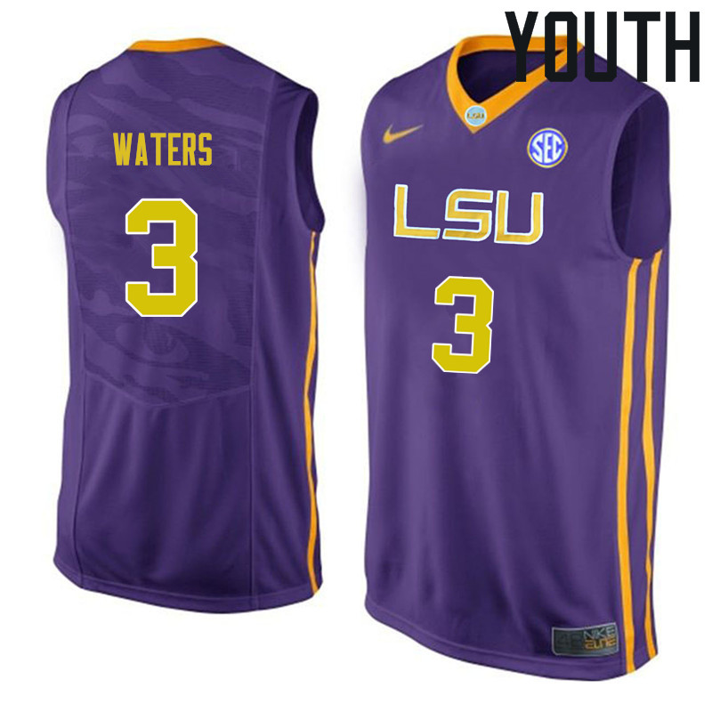 Youth #3 Tremont Waters LSU Tigers College Basketball Jerseys Sale-Purple