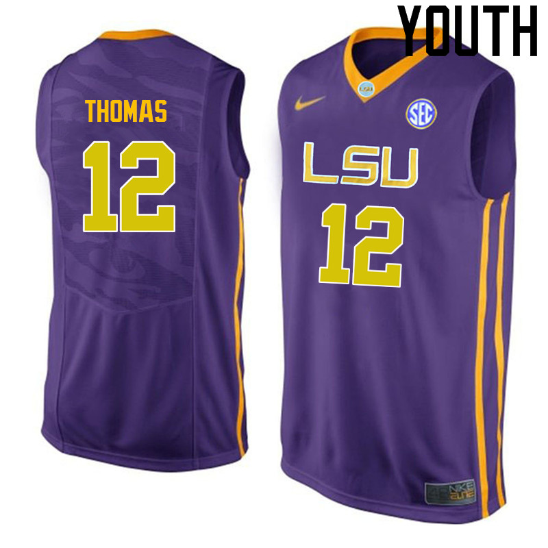 Youth LSU Tigers #12 Tyrus Thomas College Basketball Jerseys-Purple