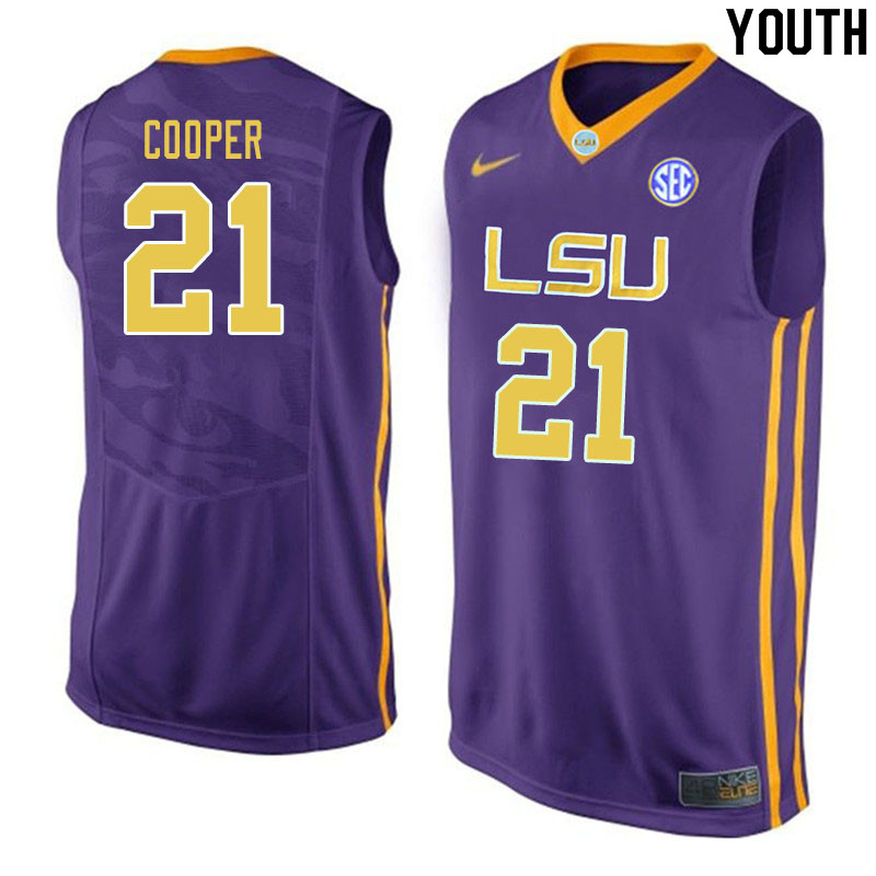 Youth #21 Courtese Cooper LSU Tigers College Basketball Jerseys Sale-Purple