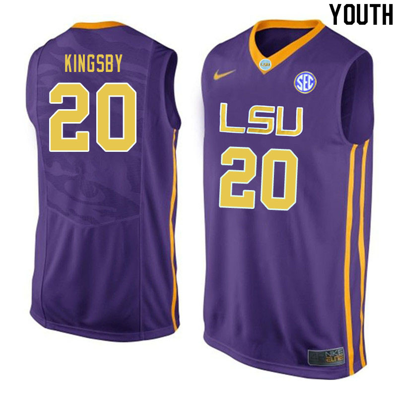 Youth #20 Danya Kingsby LSU Tigers College Basketball Jerseys Sale-Purple