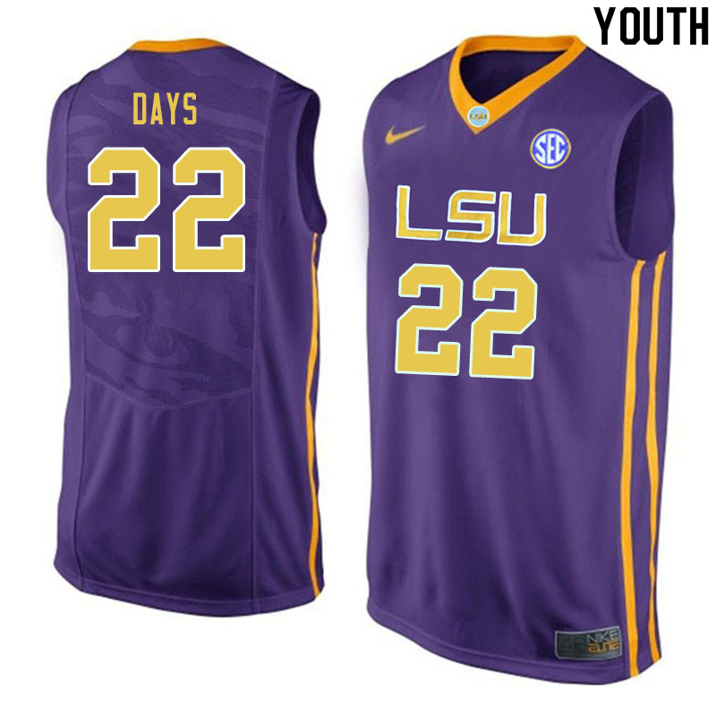 Youth #22 Darius Days LSU Tigers College Basketball Jerseys Sale-Purple