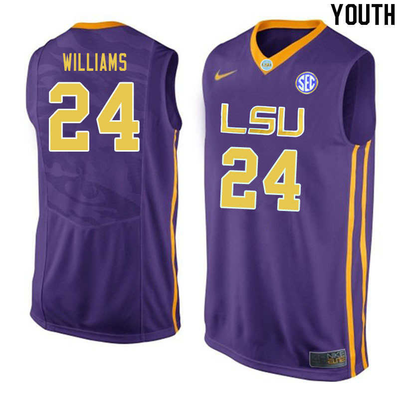 Youth #24 Emmitt Williams LSU Tigers College Basketball Jerseys Sale-Purple