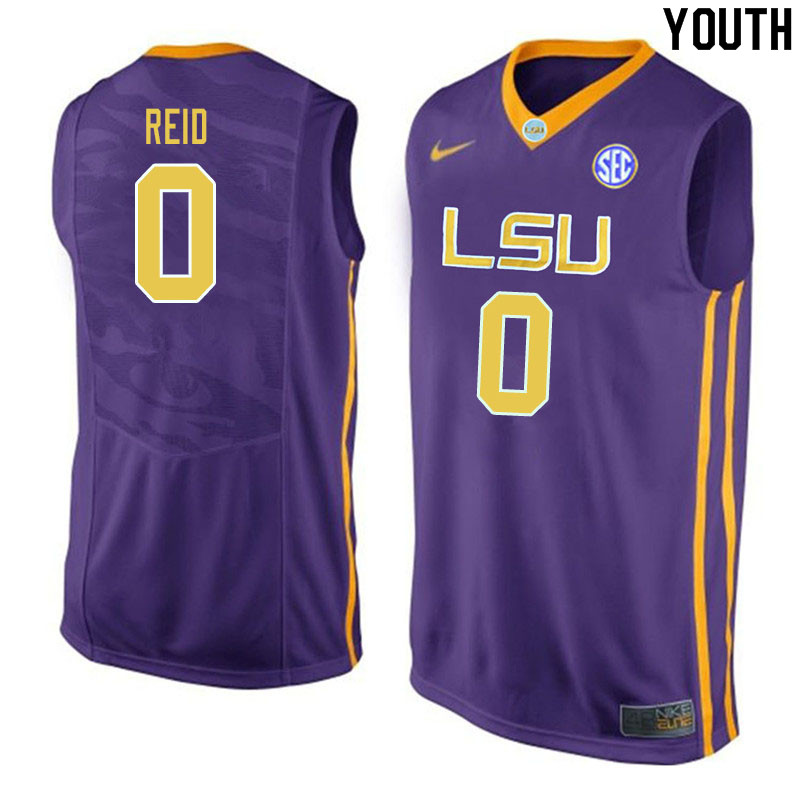 Youth #0 Naz Reid LSU Tigers College Basketball Jerseys Sale-Purple