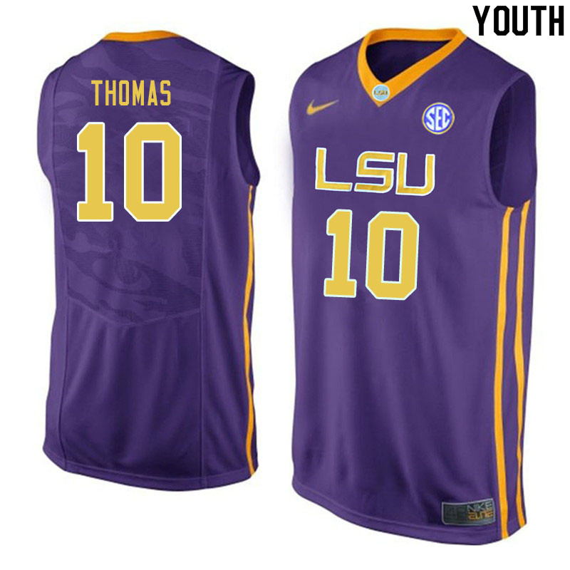 Youth #10 Noah Thomas LSU Tigers College Basketball Jerseys Sale-Purple