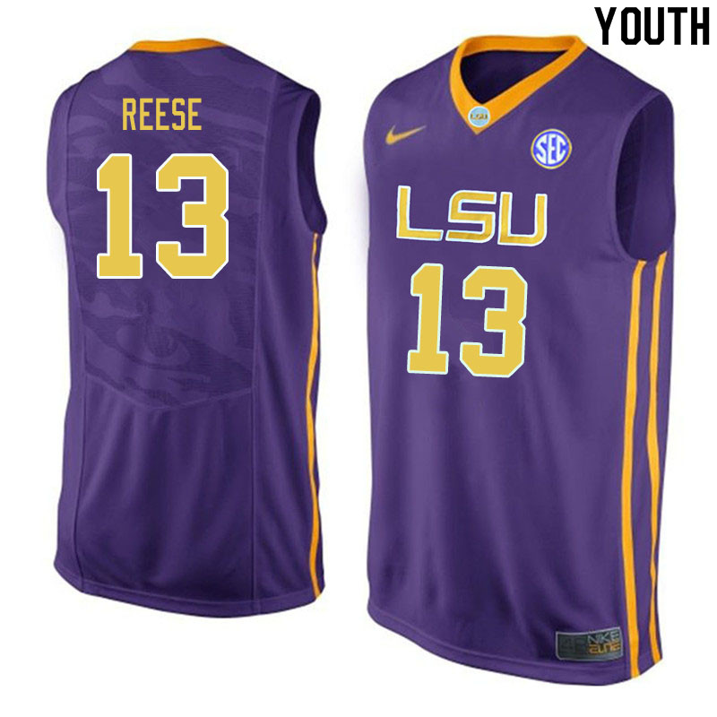 Youth #13 Will Reese LSU Tigers College Basketball Jerseys Sale-Purple