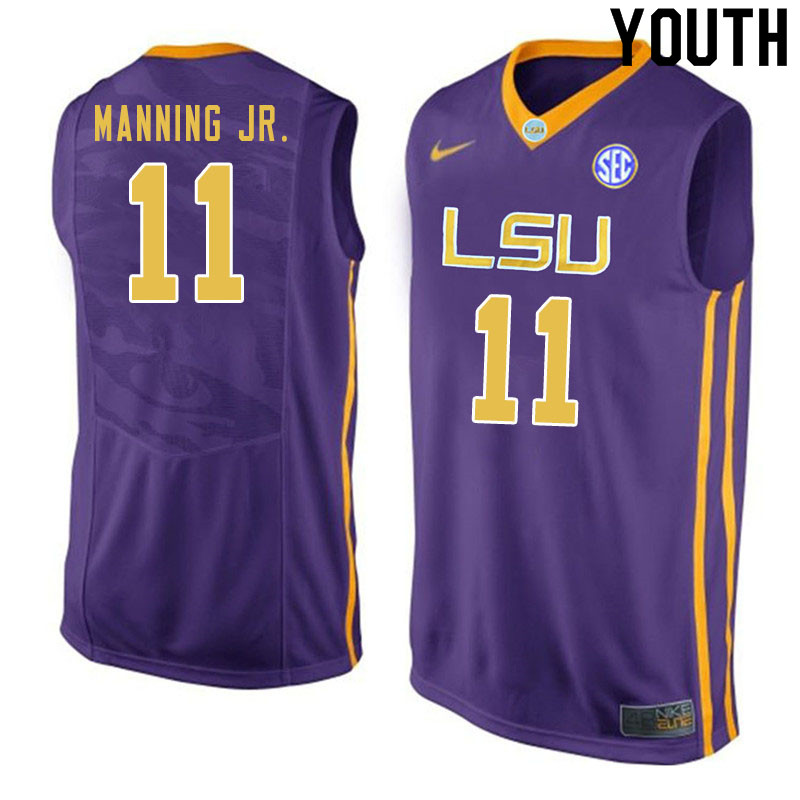 Youth #11 Charles Manning Jr. LSU Tigers College Basketball Jersyes Sale-Purple