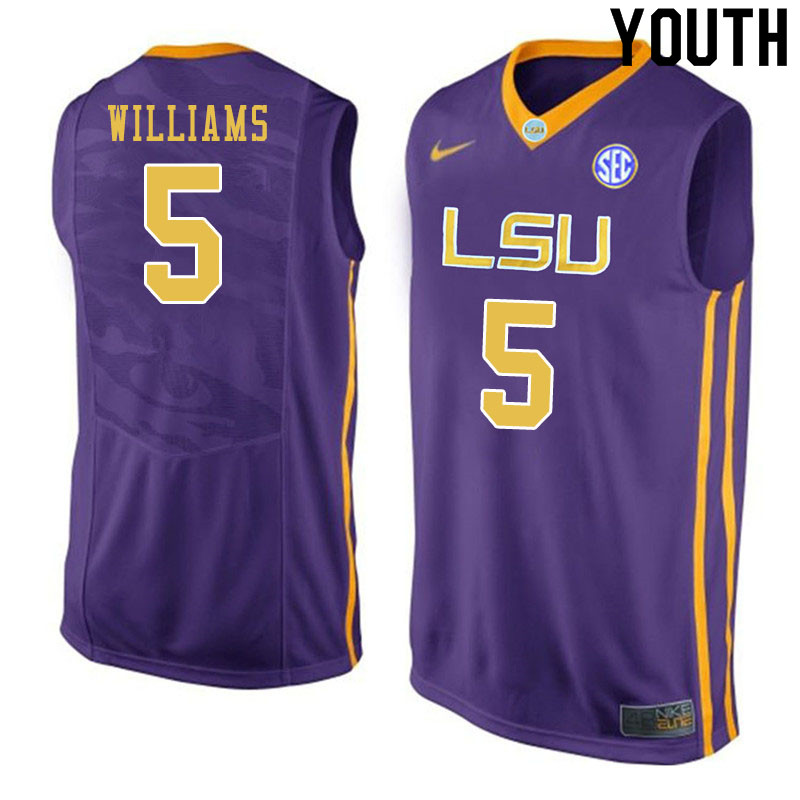 Youth #5 Emmitt Williams LSU Tigers College Basketball Jersyes Sale-Purple