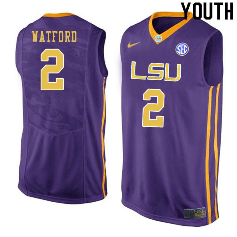 Youth #2 Trendon Watford LSU Tigers College Basketball Jersyes Sale-Purple