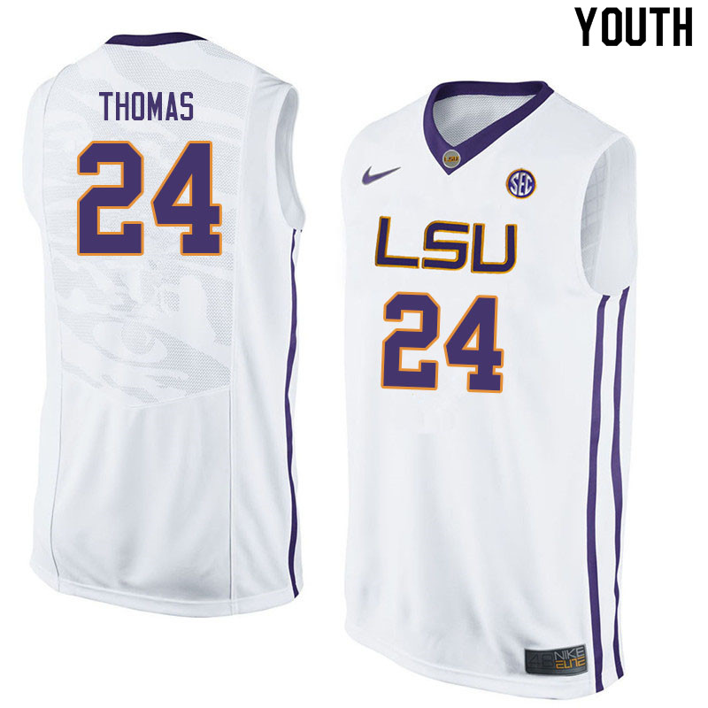 Youth #24 Cameron Thomas LSU Tigers College Basketball Jerseys Sale-White