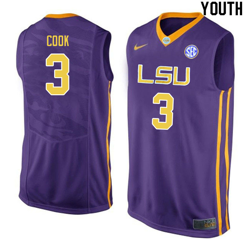 Youth #3 Jalen Cook LSU Tigers College Basketball Jerseys Sale-Purple