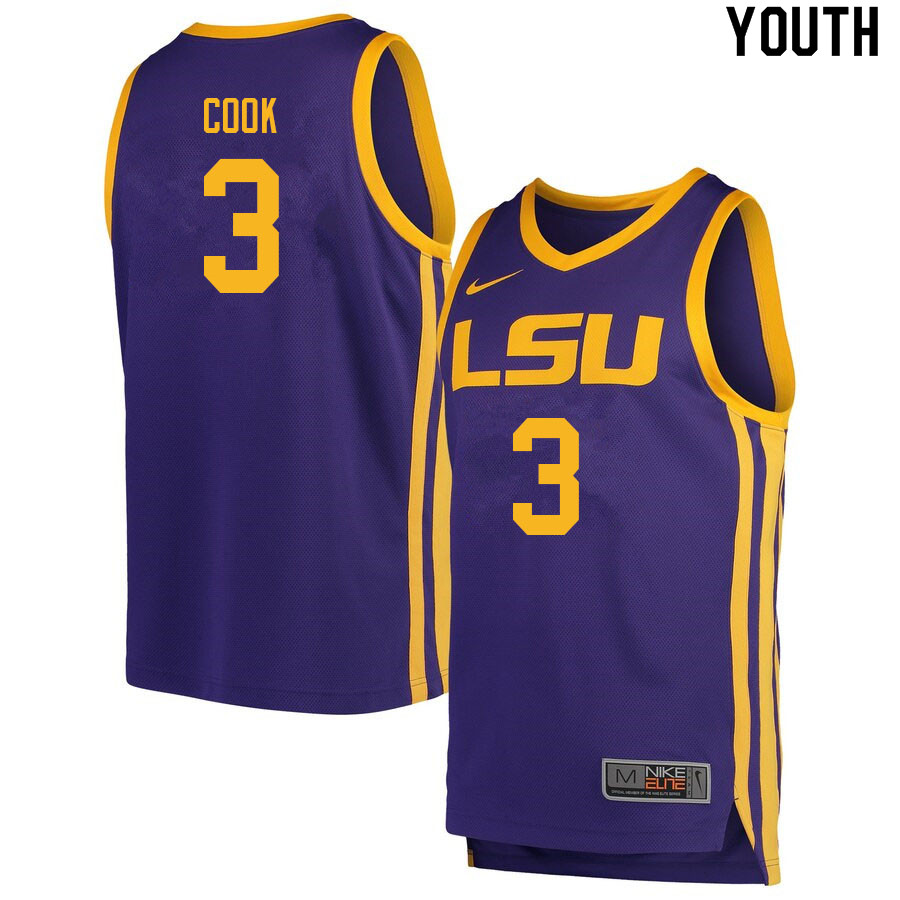 Youth #3 Jalen Cook LSU Tigers College Basketball Jerseys Sale-Retro