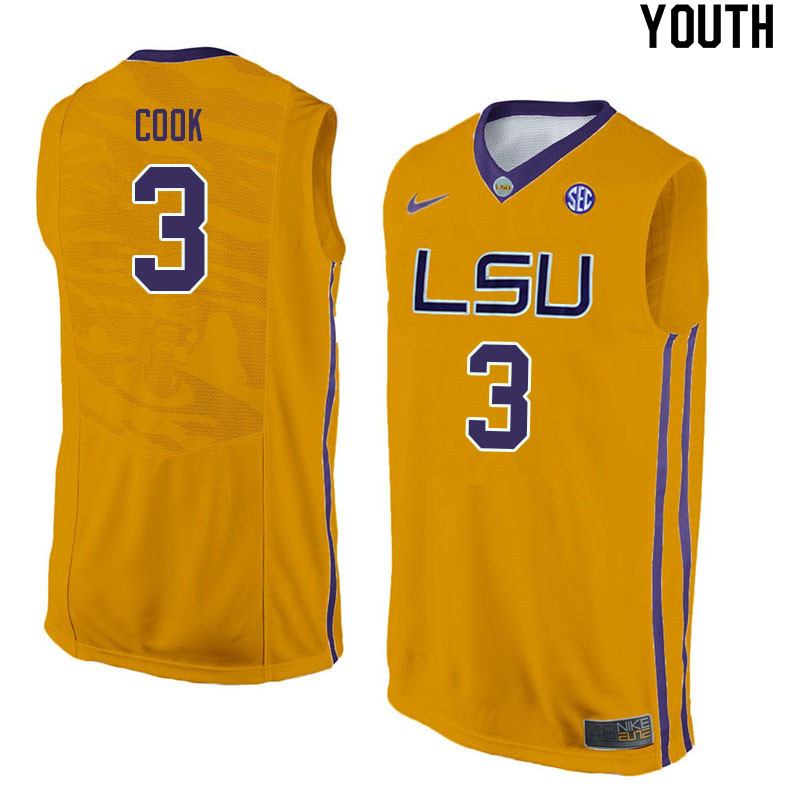 Youth #3 Jalen Cook LSU Tigers College Basketball Jerseys Sale-Yellow