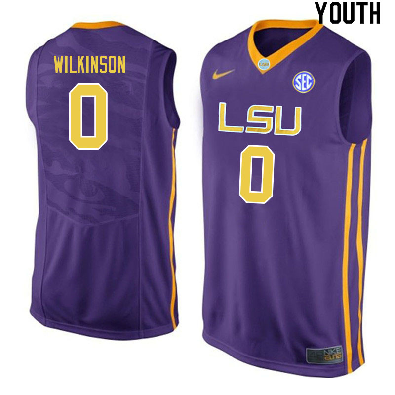 Youth #0 Mwani Wilkinson LSU Tigers College Basketball Jerseys Sale-Purple