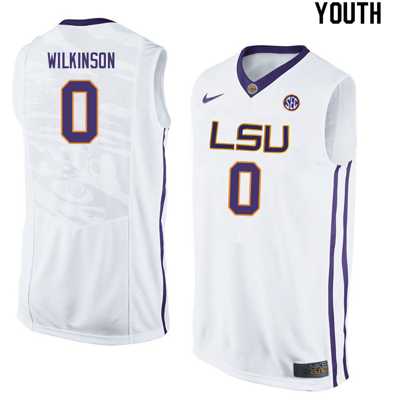 Youth #0 Mwani Wilkinson LSU Tigers College Basketball Jerseys Sale-White